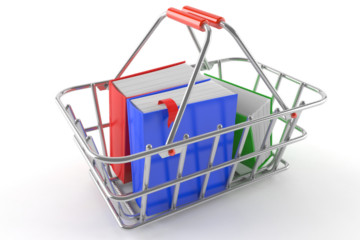 A basket containing three coloured books